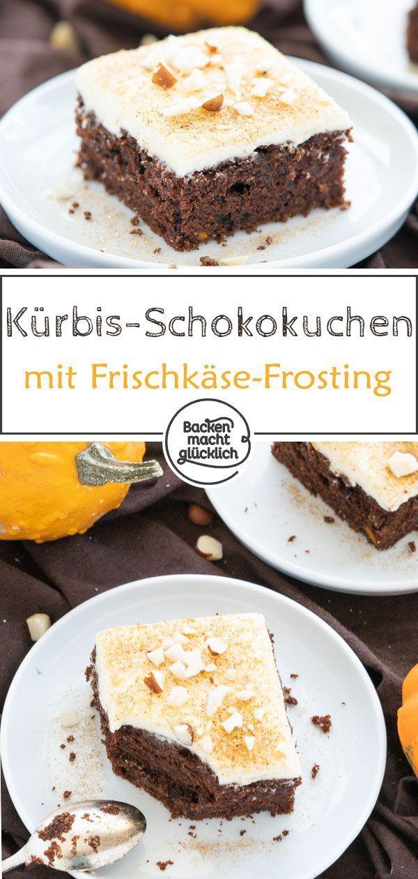 Saftiger Kurbis Schoko Kuchen Kurbiskuchen Rezepte Kuchen Ohne Backen Blechkuchen