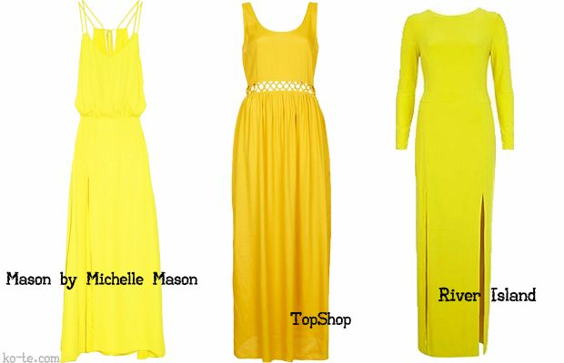 Long yellow dresses