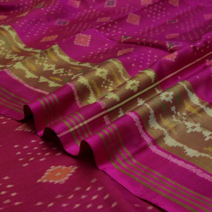 Handwoven Magenta Pink Patola Silk Sari with Diamond Motifs 530511742