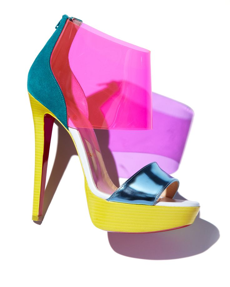 THE VIVIDS: Christian Louboutin colorblocks go best with a sunny glow. 212 872 8947