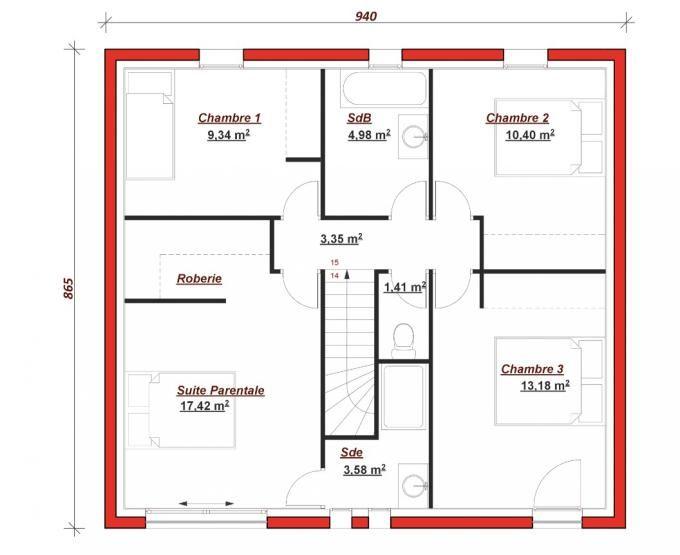 plan maison facade 10m