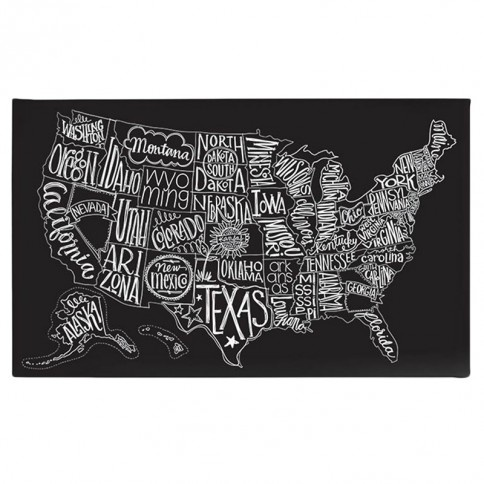 BasicGrey Black Tie US Map Canvas Art