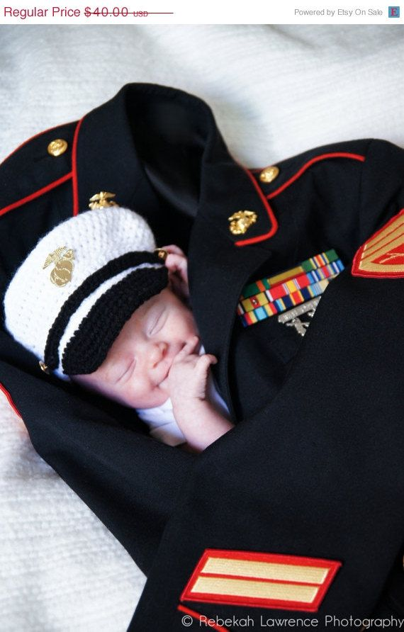 Christmas in July Sale Crochet Marine Corps Female Cover and Diaper Cover set, USMC Hat, Baby Hat, Newborn Photography Prop - Made to order