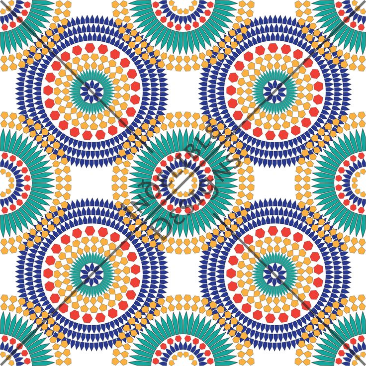 ID#01CE — Iɴðɛʟɪʙʟɛ Ðɛsɪǥɴs #screenprint #printdesign #textiledesign #textileprint #layer #diamond #hexagon #line #linear #moroccan #shape #turquoise #white #red #yellow #tile #tileprint #star #aqua #blue #cobalt