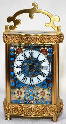 Serpentine Carriage Clock with Porcelain Panels, c.1910 ~ Antique Clocks Guy                                                                                                                                                                                 More