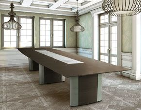 One way to have our Conferre conference table finished and set up.  We love the boat-shaped tabletop #design.