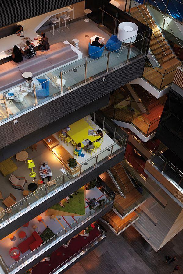 ANZ Centre in Melbourne Looks Like a Massive Urban Campus #bafco #bafcointeriors Visit www.bafco.com for more interior inspirations.