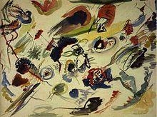 Abstrakte Kunst – Wassily Kandinsky: Aquarell ohne Titel, 1910 oder 1913 entstanden