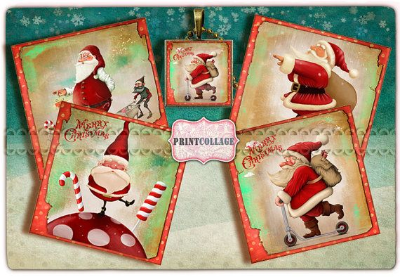 Printable Collage Sheet for Coasters Greeting by PrintCollage  I love winter time it makes me happy so many colors,sweets,gifts.Hope you like winter too.