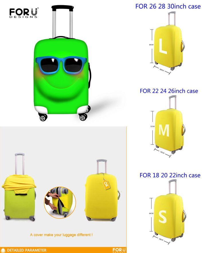 [Visit to Buy] 2016 Funny Emoji Face Women Travel Waterproof Bags Luggage Cover Elastic Stretch Protect Suitcase Covers Apply to 18''-30'' Case #Advertisement