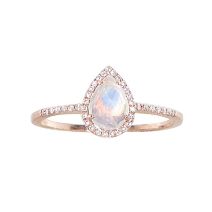 14kt gold and diamond single band teardrop moonstone ring – Luna Skye by Samantha Conn