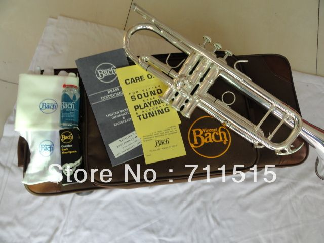 Bach Small Trompeta Silvering Brass Instruments Bb Trumpet B Flat Durable with Mouthpiece Gloves Musical Instrument LT180S-37