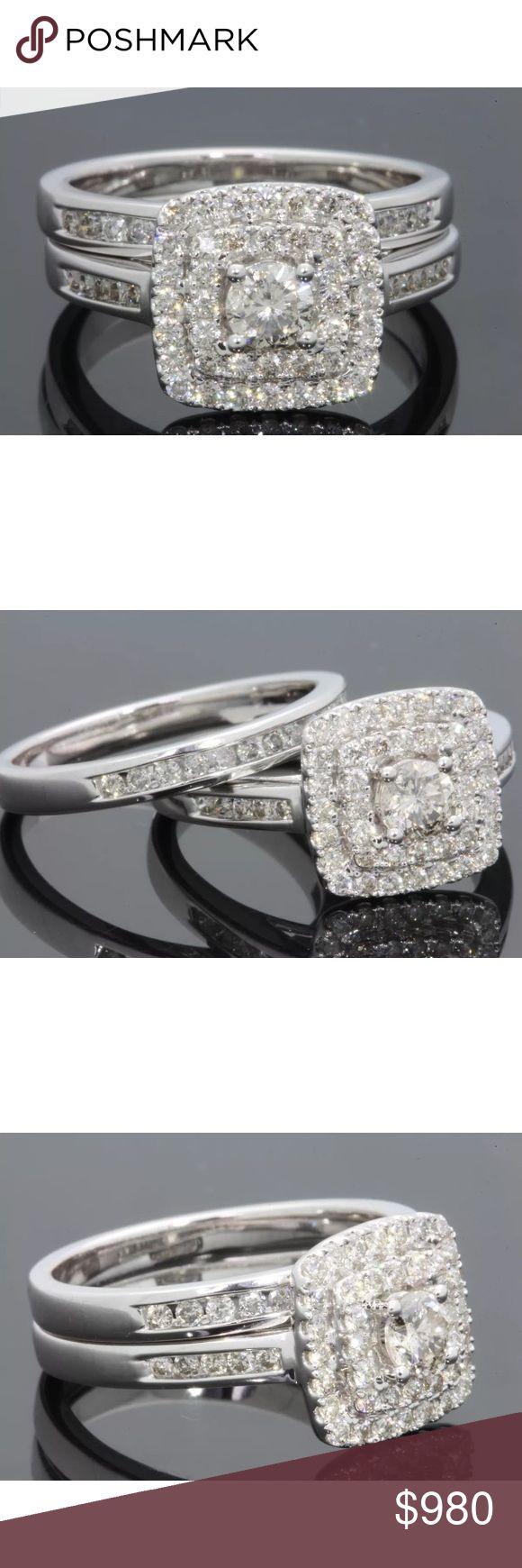 1.20 carat 14k white gold diamond ring set 1.20 carat 14k white gold diamond ring set. Center diamond 0.32 carats. Retail $2600 Jewelry Rings