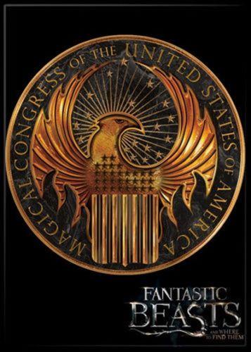Fantastic-Beasts-Movie-MACUSA-Gold-Logo-Refrigerator-Magnet-Harry-Potter-UNUSED