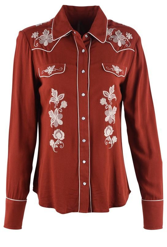 4d67a724f3 Shop Stetson Rust Cowgirl Embroidered Snap Shirt at pintoranch.com. Enjoy  FREE Shipping over  100.