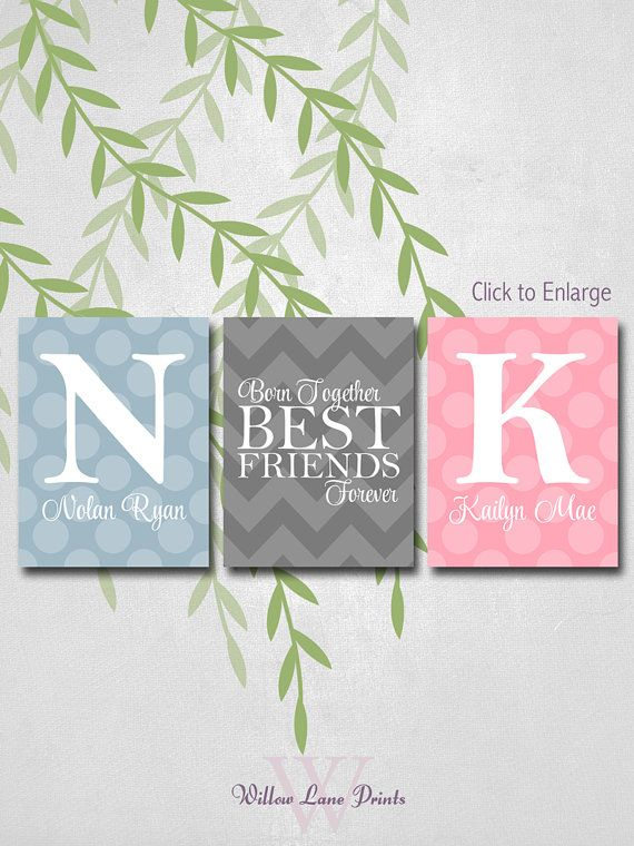 Personalized Twins Nursery Decor With Initials Twin Boy And Baby Gift Chevron Polka Dots Gray Pink Blue Art Pinterest