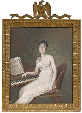 Une merveilleuse de l'époque Empire / BOSSELMAN (act.1800-1830), Portrait d'une jeune pianiste assise devant un piano forte, un sein découvert. Miniature rectangulaire Signée et datée an 10 (c. 1802) au centre vers la gauche Dim.: 12,5 x 10,5 cm. Dans un beau cadre en bronze ciselé et doré à décor de feuilles d'acanthe surmonté d'un ruban et d'un aigle enserrant des foudres  ( KALCK & Associés - Mercredi 26 avril n°226 - 250/350 €)