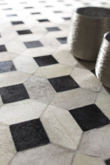 Bayliss Cowhide Lattice Rug-  Floor rug available for order in (ONLY) at La Vie Interiors  http://www.lavieinteriors.com.au