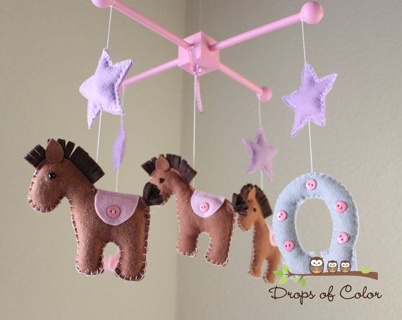 Baby Mobile - Baby Crib Mobile - Nursery Cowgirl Decor - Horses Mobile - Girl Nursery - Kids Room - Horseshoe Horse Stars - Pick your colors...