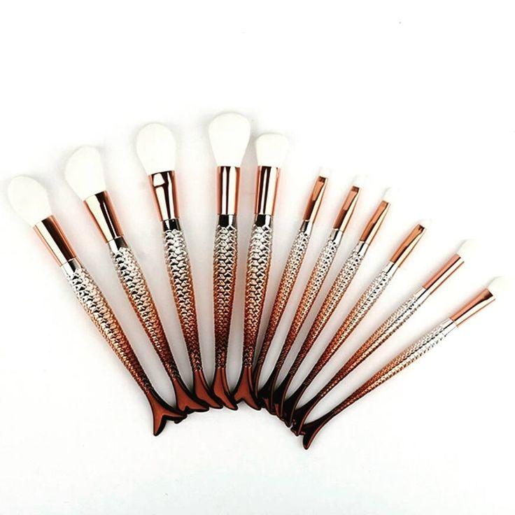 Free p&p 10pc Rose Gold +Silver Mermaid Brush Set by MakeupOrganisors on Etsy