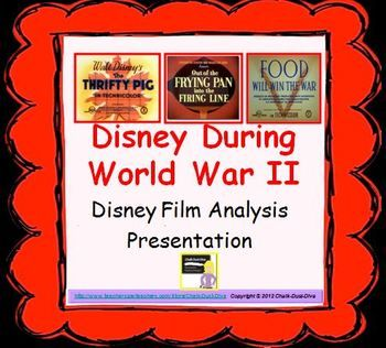 """World War II Disney Propaganda Films Analysis Presentation  Your students will love this activity! This is a 9-slide PowerPoint presentation reviewing World War II propaganda films created by Walt Disney. The short film clips that are included are: """"Food Will Win the War"""", """"Out of the Frying Pan"""" and """"the Thrifty Pig"""". The presentation reviews background information about Walt Disney during the War and information about the military and Hollywood today."""