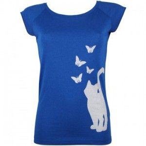 Dweezil's Friend - T-shirt Butterfly Chaser Blue - biologische katoen - €29,95 via Markita