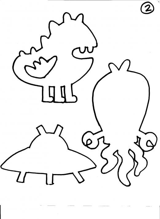 Monsters and aliens shadow puppets aliens shadows and for Free shadow puppet templates