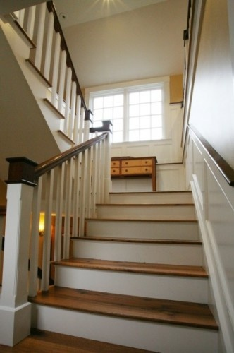 Wooden Stairs With Painted White Risers