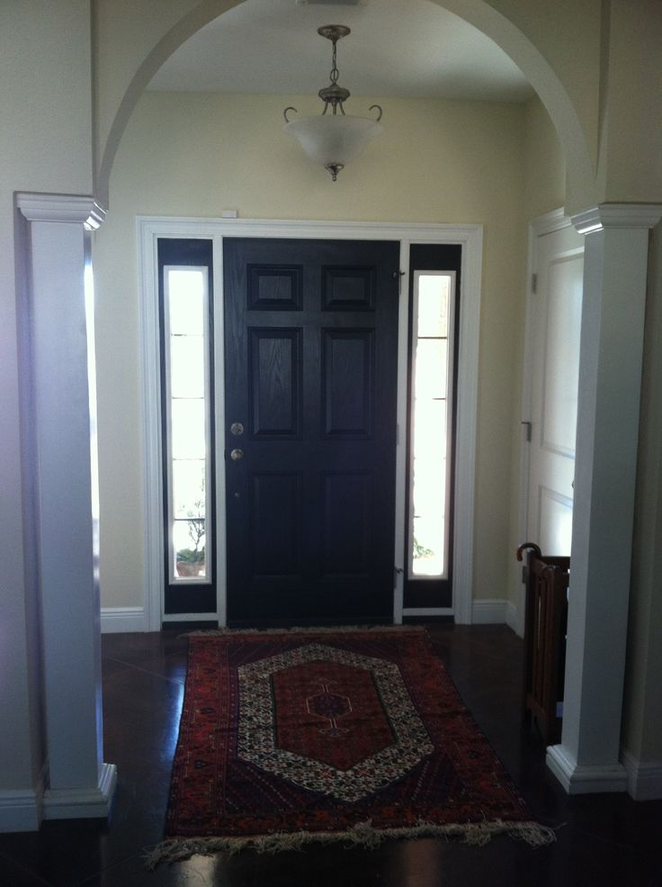 Black front door w sidelights front doors pinterest for Black interior paint