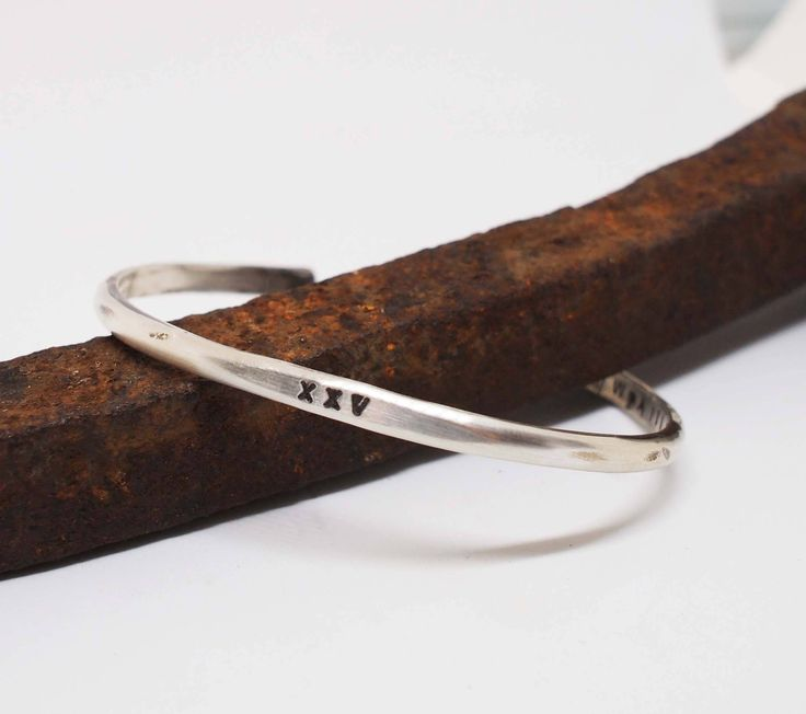 Men's Silver Cuff, Hammered Cuff, Rustic Silver Bracelet, Silver Anniversary Gift, Roman Numeral Bracelet, XXV by MadreDeOlivia on Etsy
