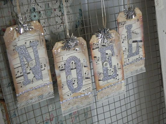 NOEL Banner Silver Glitter Letters Vintage by backthroughtime, $15.00