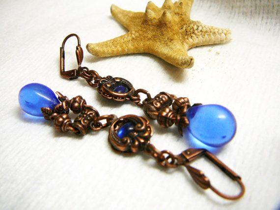 """Copper plated brass earrings  """"Sharliz"""""""