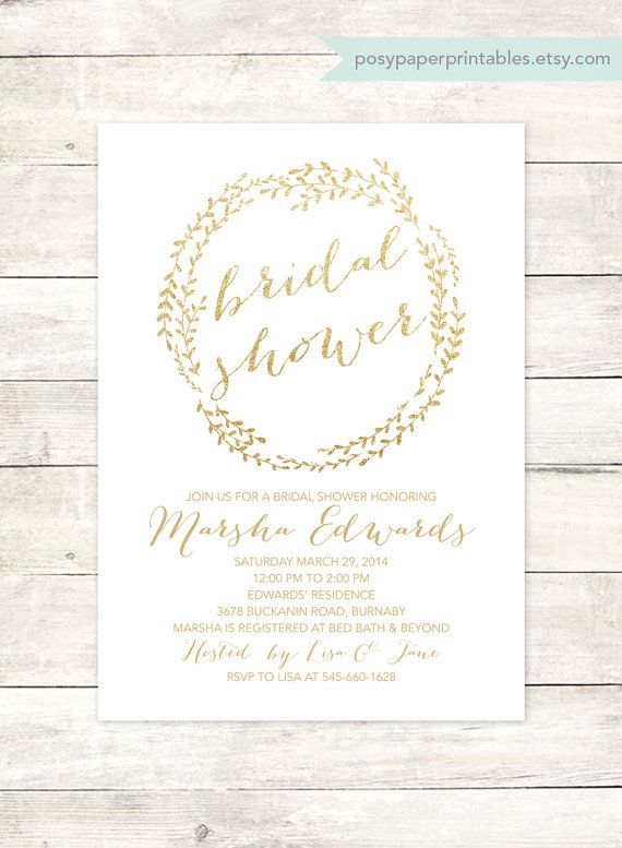 white gold bridal shower invitation di posypaperprintables su Etsy
