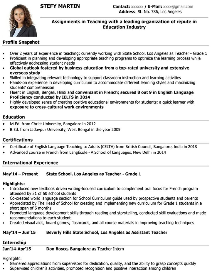 Resume Format Teacher Pinterest Sample resume and Resume format