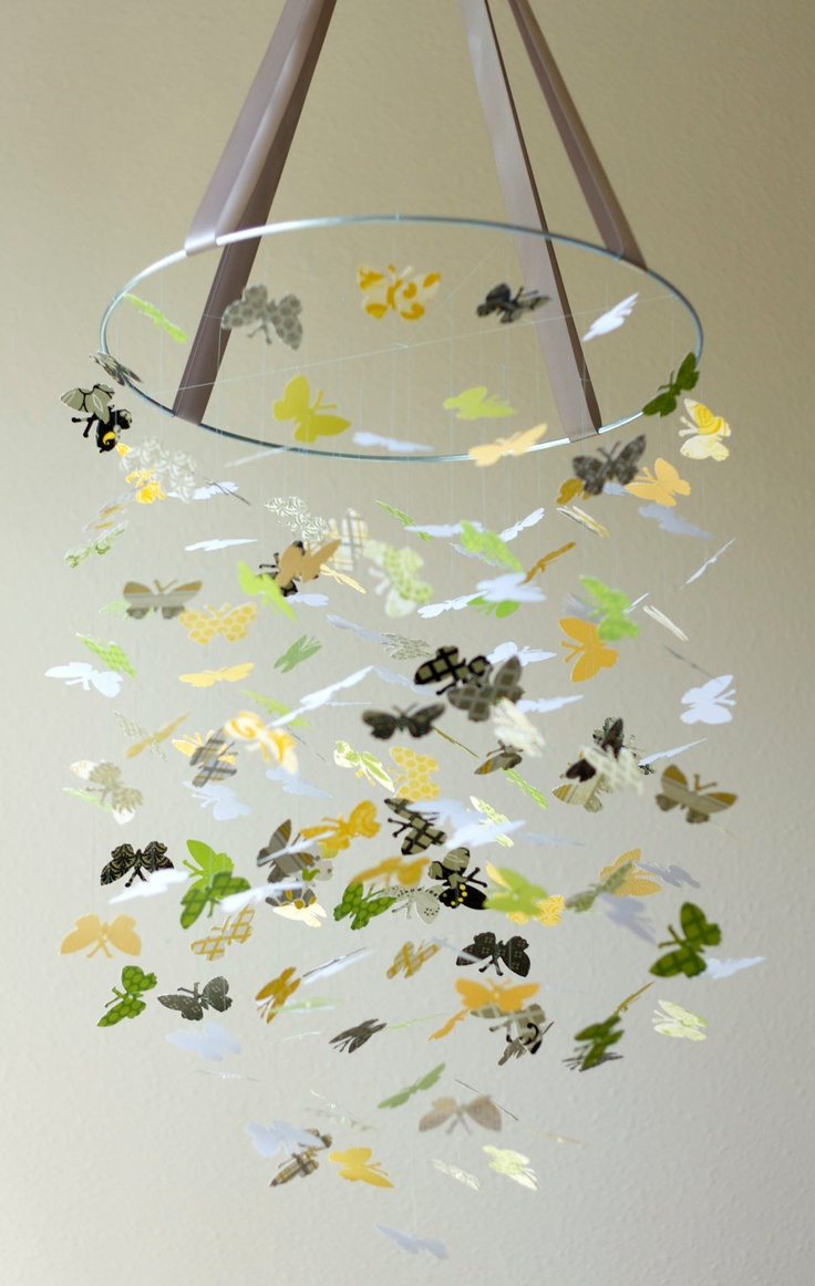 Lemon Blossom Butterfly Mobile Kit - DIY - Do It Yourself - Great Craft Project. $25.00, via Etsy.