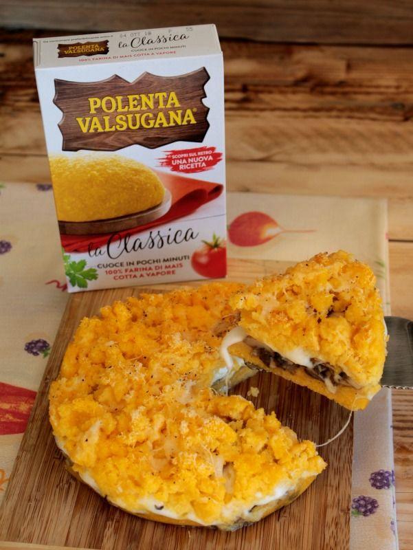 Sbriciolata di polenta gialla filante con funghi e scamorza ricetta il mio saper fare