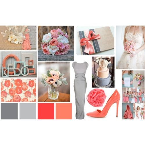 Grey And Coral Wedding