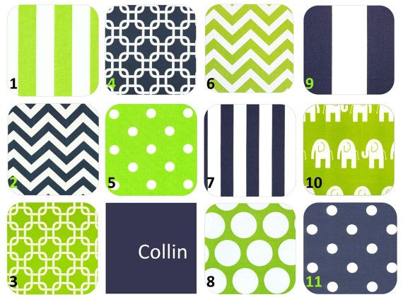 Design your own 4pc crib bedding set navy blue by - Navy blue and green bedding ...