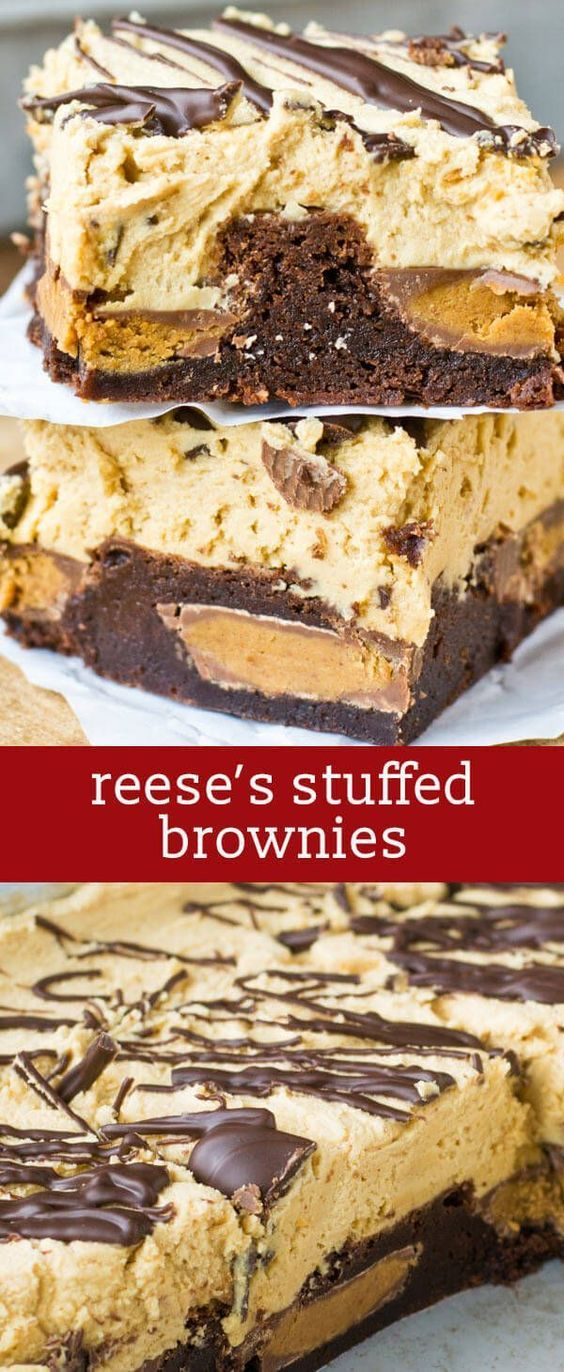 Reese's peanut butter cups stuffed inside soft, chewy brownies. Top the Reese's Stuffed Brownies with this unbelievable peanut butter frosting! homemade brownies / peanut butter brownies via @tastesoflizzyt