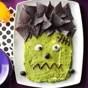 Frankenguac Recipe- Recipes  Play the mad scientist this year and bring a monster to life. He's frightfully fun and delicious! —Nanette Hilton, Las Vegas, Nevada