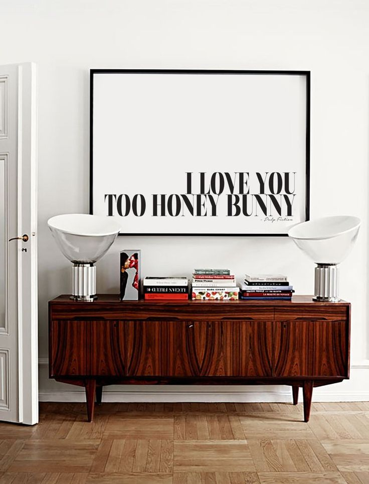 'Love you too honey bunny' Pulp Fiction Typography art print