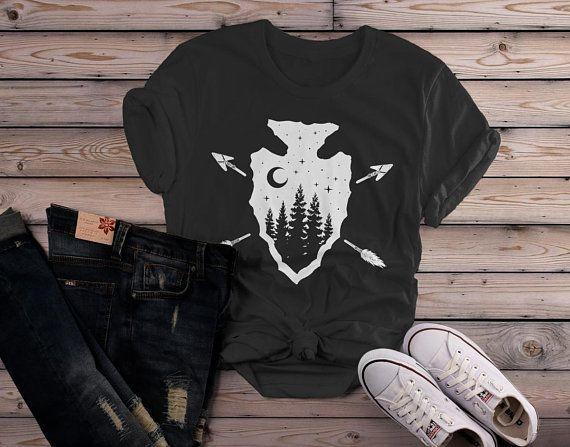 be7da2c3 Women's Hipster Arrowhead T-Shirt Forest Trees Moon Tee Shirt ...