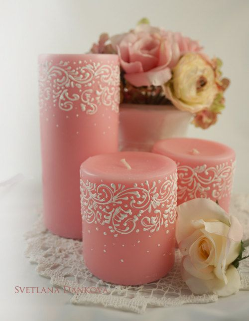 Wedding Wedding Candles Candle Holder Baby Shower by LaivaArt