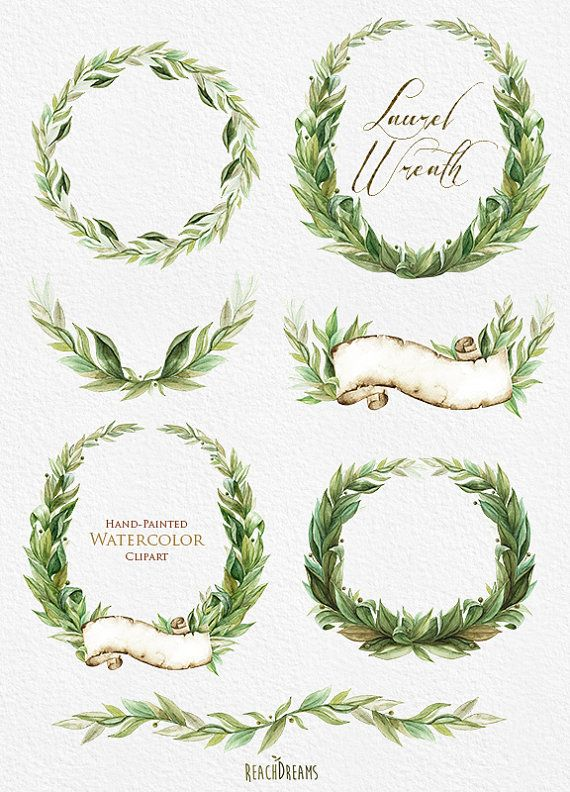 Laurel Wreath Watercolor Hand Painted Clipart от ReachDreams