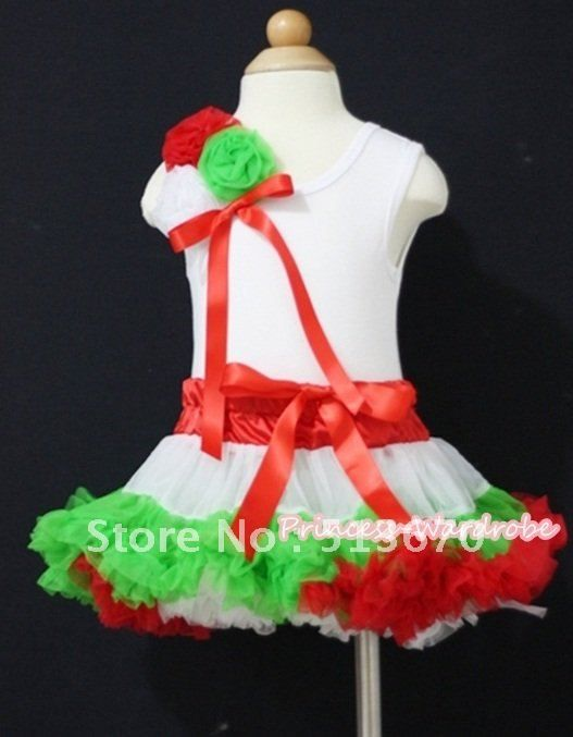 Белый Tanktop с букетом красных белого розетками и горячая красная лента и х ' горячий красный белый темно-зеленый юбка MAMG443