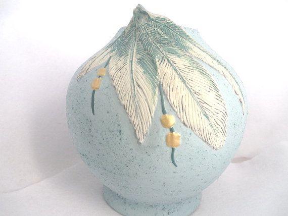 Southwestern Vase Turquoise Ceramic Vase Southwestern Decor Ethnic Feathers Vase Aztec Native American Style Native Art