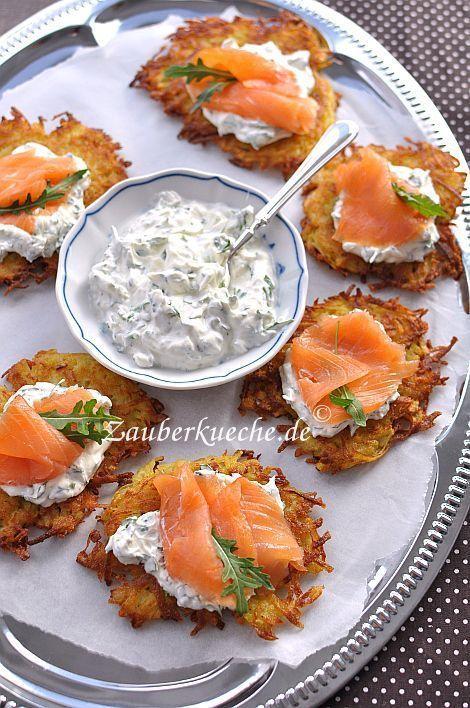 Crunchy potato pancakes with salmon