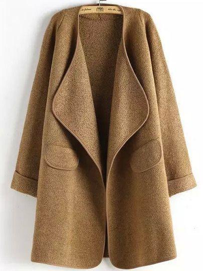 Khaki Long Sleeve Peplum Trims Casual Coat