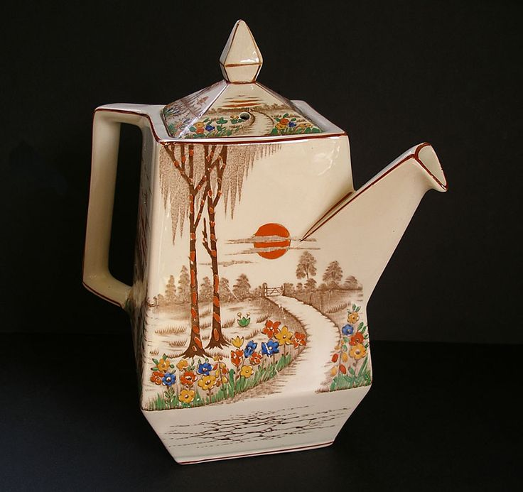 T.G. GREEN ENGLISH POTTERY  FAIRY GLEN PATTERN OBLIQUE SHAPE ANGULAR ART DECO TEAPOT C.1931-39 / The fabulous angular art deco shape is known as Oblique and the pattern is Fairy Glen.