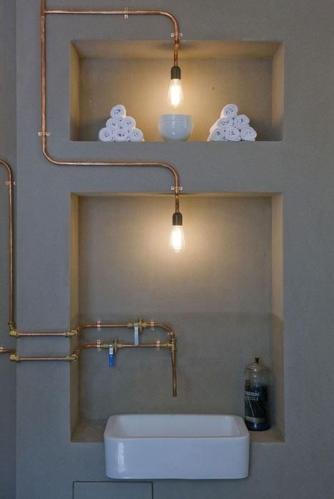 Copper Pipes at Barber Amsterdam, Remodelista